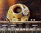 ZDBWJJ kaffee kekse holzplanken tasse getreide essen 3d Tapete wohnzimmer küche restaurant hotel café wandbild-450cmx300cm