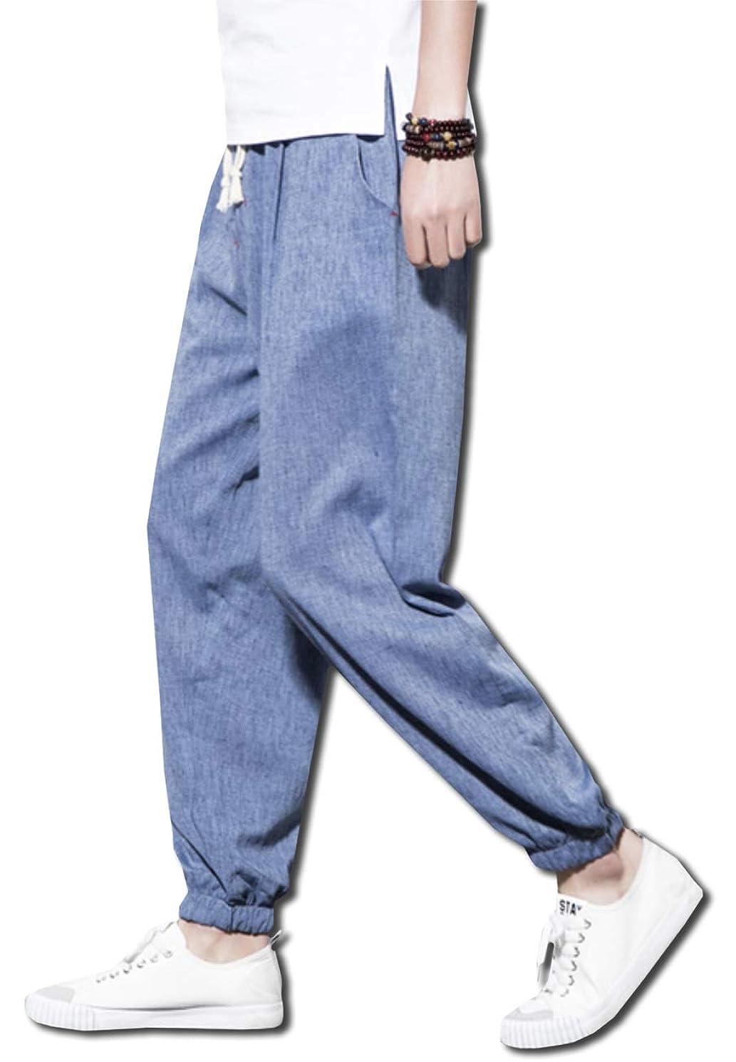 教室レプリカ獣[ボルソ] サルエル 麻 ワイド パンツ カジュアル メンズ (ブラック、ブルー、グレー、ライトグレー) L ~ XXXL