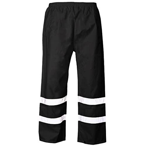 b8c32901f32 MyShoeStore Hi VIS Viz 2 Band PU Over Trousers High Visibility Waterproof  Safety Work Wear Reflective