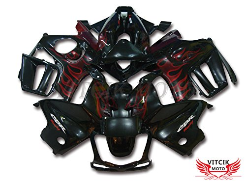 VITCIK (Fairing Kits Fit for Honda CBR600F3 CBR600F 1997 1998 CBR 600 F3 97 98 Plastic ABS Injection Mold Complete Motorcycle Body Aftermarket Bodywork Frame (Red & Black) A002