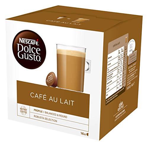 NESCAFÉ Dolce Gusto Café au Lait 16 Kaffeekapseln (ausgewählte Robusta Bohnen, Leichter Kaffeegenuss mit cremigem Milchschaum, Schnelle Zubereitung, Aromaversiegelte Kapseln) 1er Pack (1 x 16 Kapseln)