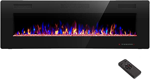 R W FLAME 50 Inch Recessed And Wall Mounted The Thinnest Electric Fireplace Fit For 2 X 4 And 2 X 6 Stud Remote Control With Timer Touch Screen Adjustable Flame Color And Speed