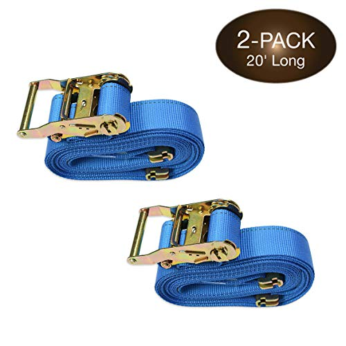 """Two 2"""" x 20' E Track Tie-Down Ratchet Straps   Heavy Duty Ratcheting Cargo Strap TieDowns w/ETrack Spring Fittings & Ratchets, Polyester Webbing   Secure Motorcycles, Pickup, Truck, Trailer Loads"""