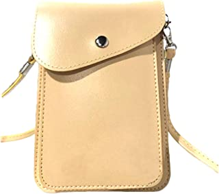 PU Leather 2 Layers Vertical Cellphone Pouch Bag with Shoulder Strap and Magnetic Button for Apple iPhone Samsung Galaxy a...