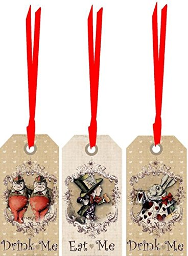 Alice in Wonderland 20 eat me, drink me, assorted party tags laminated party decoration