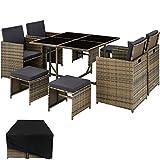 TecTake 800820 Poly Rattan Sitzgruppe Cube | inkl. Schutzhülle & Edelstahlschrauben | 4 Stühle 1 Tisch 4 Hocker - Diverse Farben - (Natur | Nr. 403735)
