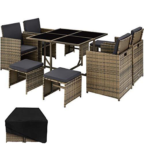 TecTake 800820 Conjunto Muebles de jardín de ratán sintético, Juego de Comedor 4+4+1 + Funda con Tornillos de Acero Inoxidable, Mobiliario de Exterior (Natural)