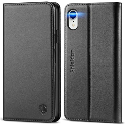 SHIELDON iPhone XR Case, Genuine Leather Flip iPhone XR Wallet Case with RFID Blocking Credit Card Holder Compatible with iPhone XR (6.1 Inch 2018) - Black