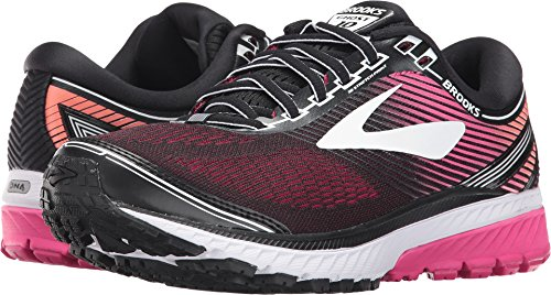 Brooks Womens Ghost 10 Running Shoe Black/Pink Peacock/Living Coral 8 B(M) US