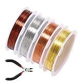 4 rollos de alambre de abalorios para joyería, alambre...