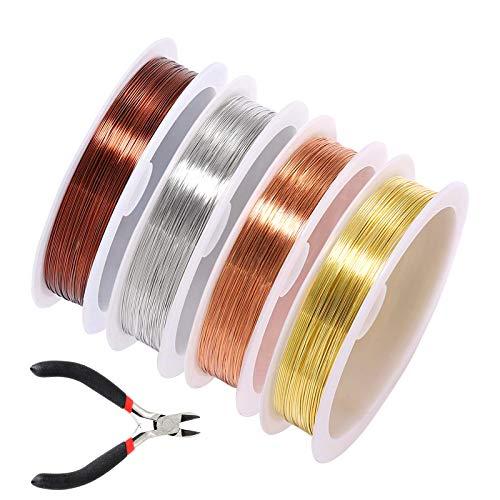 4 rollos de alambre de abalorios para joyería, alambre de artesanía con alicates diagonales, alambre de cobre mezclado, alambre de joyería de cobre desnudo, para bricolaje joyería, 0,4 mm