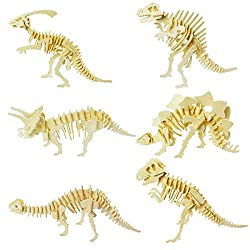 6. Calary 3D Wooden Dinosaur Skeleton Puzzles (Set of 6)