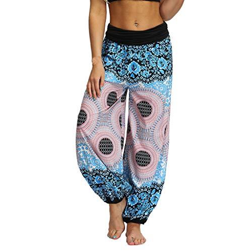 TIMEMEAN Hosen Damen High Waist Hippie Hose Ausgebeult Boho Beiläufig Locker Aladdin Yoga-Hose