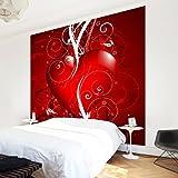Apalis Vliestapete Floral Heart Fototapete Quadrat | Vlies Tapete Wandtapete Wandbild Foto 3D Fototapete für Schlafzimmer Wohnzimmer Küche | Größe: 240x240 cm, rot, 97654