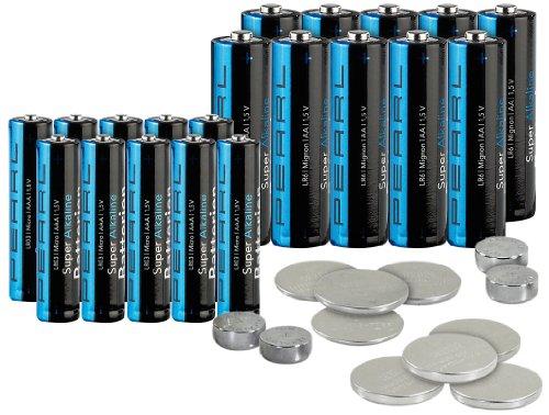 PEARL Uhrenbatterien Set: Batterie-Set 32-teilig mit Alkaline- und Lithium-Zellen (Uhren Batterie Set)