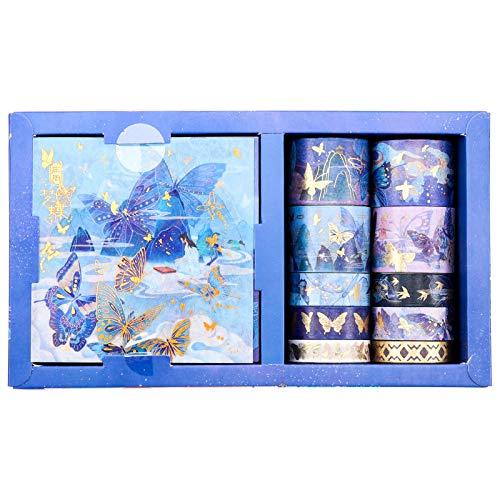 Heyu-Lotus Washi Tape Geschenkbox Set, 10 Rollen Kreative Klebebänder mit 10 Blatt Aufklebern, Dekorative Washi Masking Tapes für DIY Crafts Scrapbooking(Schmetterling im Traum)