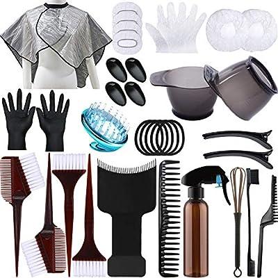 38pcs Hair Dye Coloring Kit, Hair Tinting Bowl, Dye Brush, Ear Cover, Gloves for DIY Salon Hair Coloring Bleaching Hair Dryers Hair Dye Tools