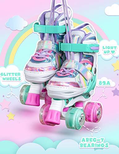 Sulifeel Rainbow Unicorn 4 Size Adjustable Light up Roller Skates for Girls Boys for Kids (Rainbow, Medium(13C-3Y US))
