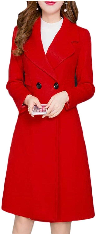 Esast Women's Overcoats Winter Double Breasted Wool Blend Long Pea Coat