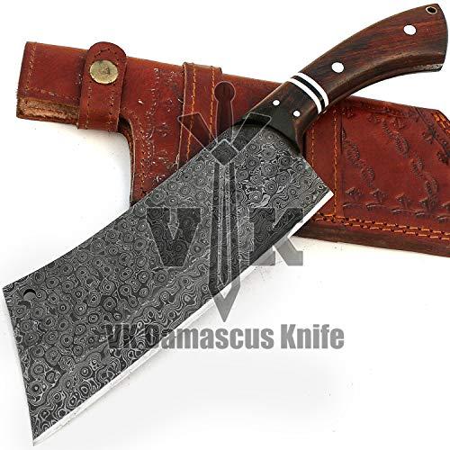 VK5513 Handmade Damascus Steel Chef Cleaver Knife Walnut Wood Handle with Leather Sheath