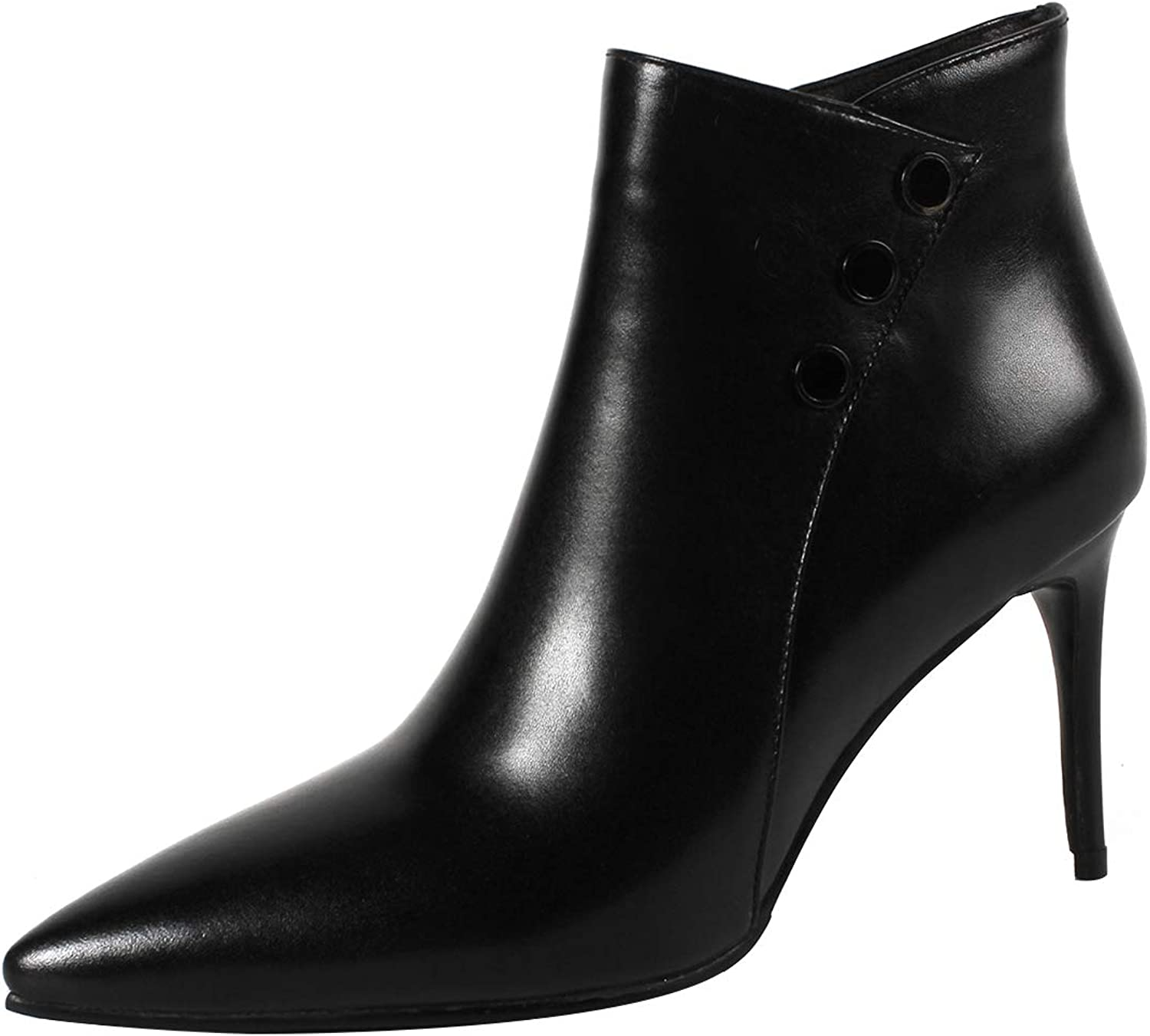 Eithy Women's Shact Stiletto Ankle-high Zipper Leather Boots