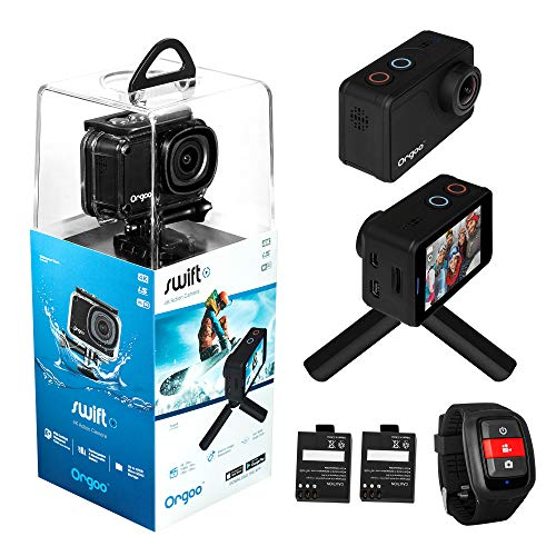 "ORGOO OC1/BLK Swift 4K Action Camera Electronic Image Stabilization, Sony Image Sensor, 2"" IPS Touchscreen, Accessories (Ip68 Certified Waterproof Case, Wearable Remote, Mini Tripod, and More)"
