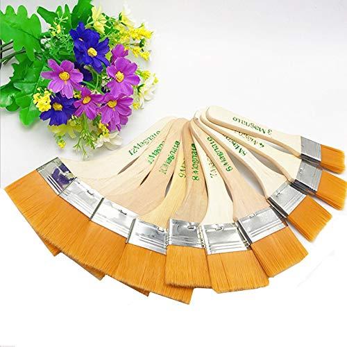 Nuluxi Olieverf nylon penseelset met houten handvat hout olieverf platte penseel set acryl aquarelverf kunstenaarsborstel duurzaam en praktisch geschikt voor tekenen, schilderen, penseel, stof (12-delige set)