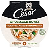 CESAR WHOLESOME BOWLS Adult Soft Wet Dog Food Chicken, Sweet Potato & Green Beans Recipe, (10) 3 oz. Bowls