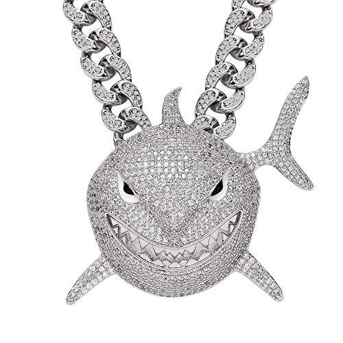 Fantex Colgante de tiburón Gigante Chapado en Oro Blanco, Diamantes de 5A CZ con Cadena de eslabones cubanos, Talla L para Hombres (Blanco-18''Cuban)