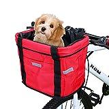 Wildken Panier de Vélo Avant Pliant Sacoche de Guidon Sac Pet Cat Chien Transporteur (Rouge)