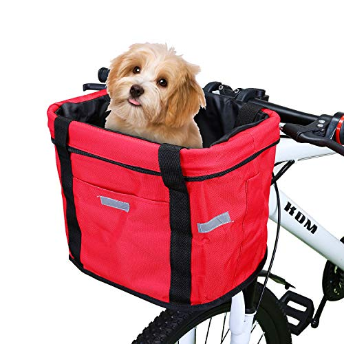 Selighting Bike Basket Multi-purpose Bicycle Handlebar Bag with Hand Strap Detachable Bike Front Basket for Pet Carrier, Grocery Shopping, Briefcase Commuter, Outdoor Camping (Red)