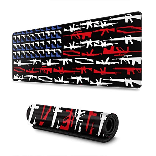 Gun Shape of American Flag Gaming Mouse Pad, Long Extended XL Mousepad Desk Pad, Large Non-Slip Rubber Mice Pads Stitched Edges, 31.5'' X 11.8''