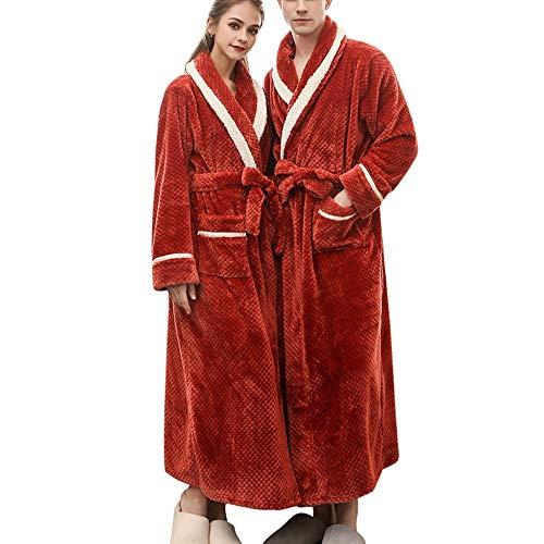Parejas Invierno Albornoz cálido y Grueso para Hombre y Mujer Alargado Albornoz de Manga Larga Robe Abrigo Moda Casual Bata de baño Pijama 270