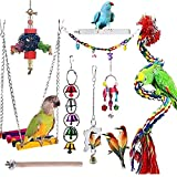 JIAYUE Bird Toys Parrot Chewing Toys, Bird Cage Accessories, Newly Upgraded Rope Bungee Bird Toys for Small Parakeets, Cockatiels, Finches, Budgie, Macaws, Parrots, Love Birds, Peony Cockatiel 9pcs