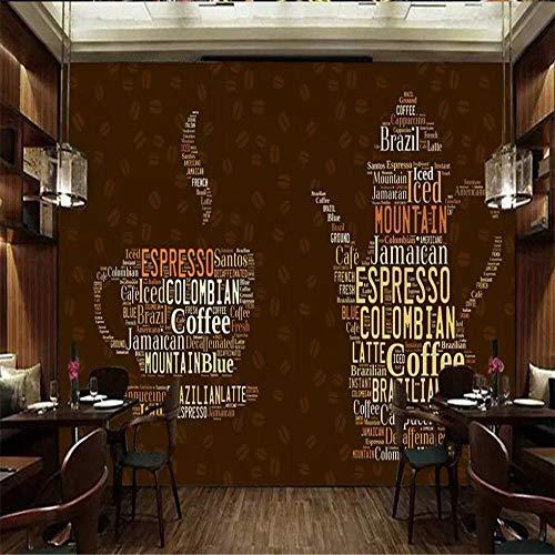 Tapeten Wandbild Hintergrundbild FototapeteBenutzerdefinierte Tapete Retro Kaffeetasse Alphabet Hintergrund Wand Wohnkultur Wohnzimmer Schlafzimmer TV Hintergrund 3d Tapete-Über 300 * 210cm 3 Streife