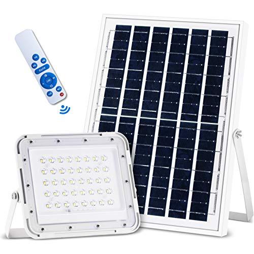 Solar Flutlichter mit Fernbedienung, 80 LED Solarlampe 60W IP66 Wasserdicht, Solar Strahler Außen beleuchtung Batterie Solarpanel Licht Gesteuert für Garten, Garage, Patio, Hof