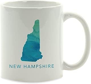 Andaz Press 11oz. US State Coffee Mug Gift, Aqua Blue Watercolor, New Hampshire, 1-Pack