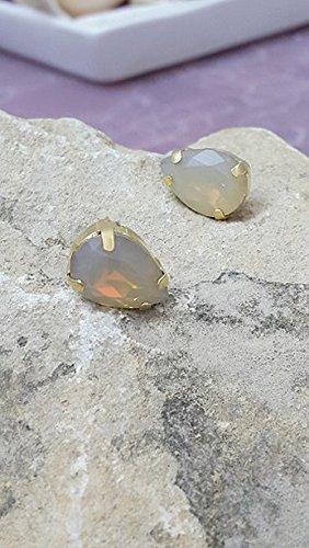 Gray opal studs,crystal Swarovski earrings,teardrop earrings, Gold earrings, Bridal earrings, Bridesmaids jewelry, Gray stud earrings