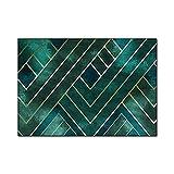 VBUEFM Alfombra Estampada Alfombras Dormitorio Modernas Lavables Lavable Antideslizante Alfombras Pelo Interio, 160 x 230 cm, Patrón Geométrico Dorado Verde Alfombra