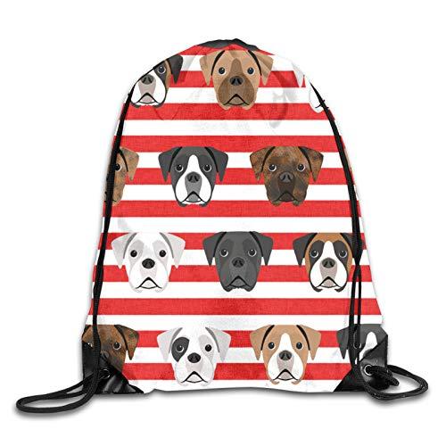Boxer Dogs – Cabeza de perro – Mochila con cordón con impresión 3D – Mochila de hombro bolsa de gimnasio Casual Running Daypack