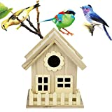 m·kvfa Wooden Birdhouse, Wild Bird Classic Nesting Box Creative Wooden Hanging Bird House Wall Mounted Nest Box for Indoors Outdoors Window, Craft for Kids, Home Decor
