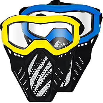 Surper 2 Pack Tactical Mask Compatible with Nerf Rival Apollo Zeus Khaos Atlas Artemis Blasters Rival Mask  Yellow&Blue