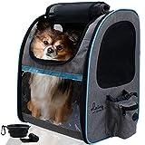 dainz ® Hunderucksack für kleine Hunde bis 8kg [Kratzfeste PVC Netze] Katzenrucksack atmungsaktiv, faltbar - Tragehilfe inkl. Sicherheitsgurt +Zubehör   Haustier Rucksack zum Wandern, Reisen