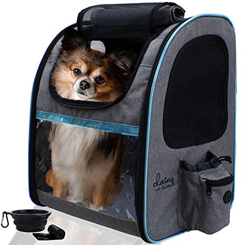 dainz ® Hunderucksack für kleine Hunde bis ca. 8kg [Kratzfeste PVC Netze] Katzenrucksack atmungsaktiv, faltbar - Tragehilfe inkl. Sicherheitsgurt +Zubehör | Haustier Rucksack zum Wandern, Reisen