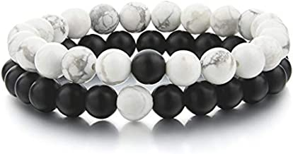 Couples Bracelets,Natural Stone Bead Bracelets-8mm Healing Balancing Beads Men Women Long Distance Bracelets for Him Her Friends at Birthday Valentine(2pcs/ Strong Elastic)