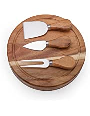 ILEAF Round Slide-Out Acacia Wood Cheese Board and 3 Piece Cheese Tool Set, 7.5 inch Diameter