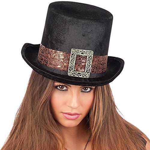 Carnival Toys - Sombrero de copa steampunk de terciopelo para adultos, 14 cm, color negro (6175)