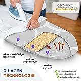 Widemex Exklusiver 5-Lagen Bügelbrettbezug inkl. 4 Spannclips | Bezugsgröße 115 x 35 cm (S) | Obermaterial widerstandsfähig und aus 100% Baumwolle | Made in Europe - 5
