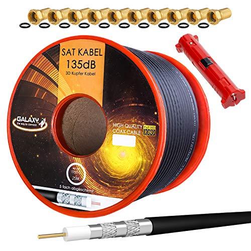 HB-DIGITAL Cable de antena coaxial satelital de cobre puro 135 Db Hb Digital Uhd 4 K con herramienta de extracción y conector F 10X (chapado en oro) 25m + Abisolierer Negro