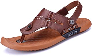 Ranipobo Men Slipper Shoes Slip On Style PU Leather Fashion Buckle Casual Solid for Men (Color : Darkbrown, Size : 8.5 UK)